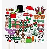 クリスマス写真ブース用小道具 - 39Ct Xmas/ホリデーパーティーグッズ デコレーション 面白いサンタトナカイのスノーマン小道具 Christmas Photo Booth Props