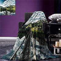 "smallbeefly Mountain Throw Blanket Landscape of Snowy Mountain At Sunset Pine Trees Tranquility In冬テーマ暖かいマイクロファイバーベッドやソファのすべてのシーズン毛布ホワイトグリーン 50""x30"" fly01-maotan0424-98169C130xK80"