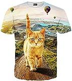(ピゾフ)Pizoff メンズ 半袖 猫柄 かわいい おもしろ 肌触り 個性 贈り物 TシャツC7058-09-XXL