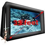 33FT Giant Inflatable Movie Screen Outdoor - Front and Rear Projection - Portable Blow Up Projector Screen for Grand Parties,