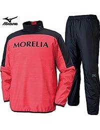 MORELIA モレリア/ミズノ 裏地付き ピステシャツ&パンツ [メンズ] P2ME652162-P2MF652109 /上下 XLサイズ レッド×ブラック