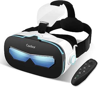Canbor VRゴーグル VRヘッドセット 4-6.3インチ スマホ 対応 iPhone Samsung 3D 動画 ゲーム メガネ外観 Bluetoothコントローラ リモコン …