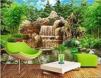 Bzbhart 3D壁紙シルク壁画ロッカリー竹風景絵画 壁壁画壁紙用壁リビングルーム-400cmx280cm