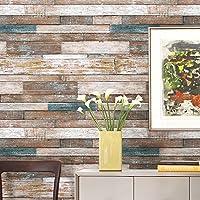 HaokHome 606 ビンテージ木目ウッドパネル壁紙ロールブルー/ベージュ/ブラウン木製プランク壁画ホームキッチンバスルーム装飾 53cmx10m