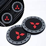 Goshion 2Pcs 3 Inch Diameter Oval Tough Car Logo Vehicle Travel Auto Cup Holder Insert Coaster for Mitsubishi All Models