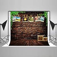 Kate 7x5ft(2.2mx1.5m)れんが壁 背景 背景布 撮影用 写真撮影 木製のフロア 背景紙 無反射 再利用 綿 背景布 背景紙