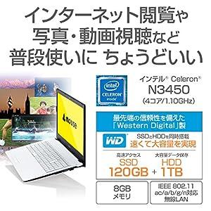 mouse ノートパソコン MB-B503S Windows 10/Celeron N3450/15.6型フルHD/8GBメモリ/120GB SSD/1TB HDD/Win10