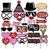 Losuyaウェディング写真ブース小道具のバレンタインデーHen Party bacheloretteフォトブースデコレーションFavor Supplies、30キット