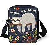 UNICEU Cute Sloth Flower Print Messenger Bag Ultralight Small Portable Women's Outdoor Sport School Bags Purse