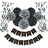 誕生日 飾り付け, Wartoon 装飾 セット ハンギングスワールデコ バースデー ガーランド ペーパーフラワー フラッグガーランド ダークグレー系