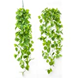 Trailing Ivy Garland Hanging Vine String Plant,Artificial Leaves Vines Handmade Garland Greenery Wedding Backdrop Arch Wall D