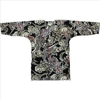 【お祭り用品・衣装】鯉口シャツ(S~3L) B606 黒地に雲龍