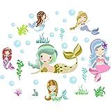 Easma Mermaid Wall Decals Mermaid Bedroom Decor Mermaid Wall Stickers Girls Bedroom Peel and Stick Wall Decal