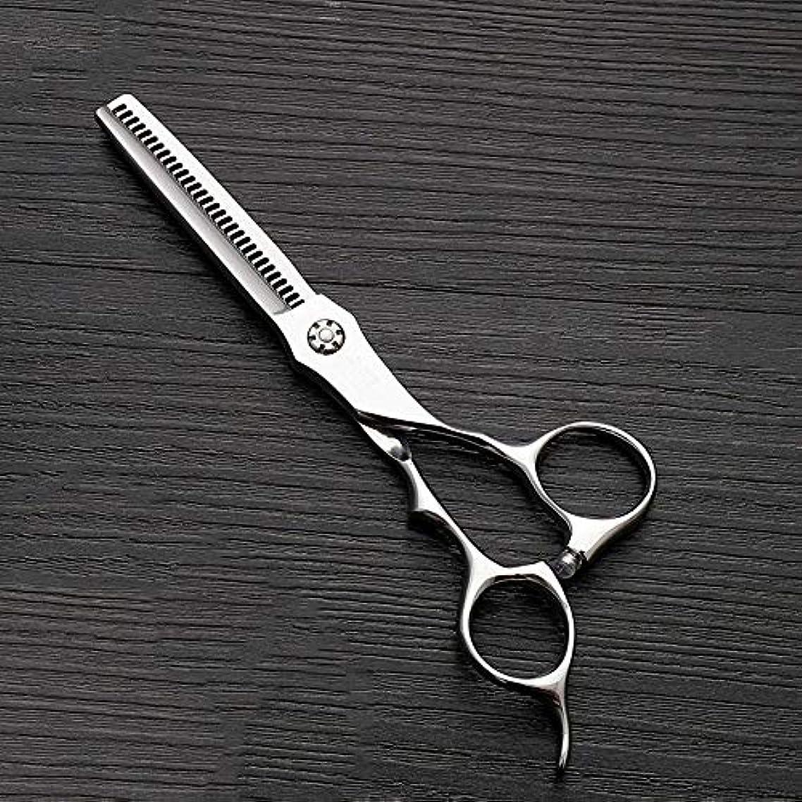 廃止する怠なウサギ6インチのステンレス鋼の歯のせん断の薄くする理髪はさみ、美容院の特別なはさみ ヘアケア (色 : Silver)