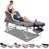 ALFORDSON Portable Massage Table 3 Fold 65cm Wide Aluminium Lift Up SPA Bed Desk with 3-year Warranty(Grey)
