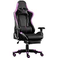 SKYE ゲーミングチェア 伸縮可能のオットマン デスクチェア オフィスチェア ゲーム用チェア 椅子(紫)