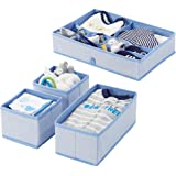 mDesign Soft Fabric Dresser Drawer and Closet Storage Organizer Set for Child/Kids Room, Nursery - Includes Large and Small O