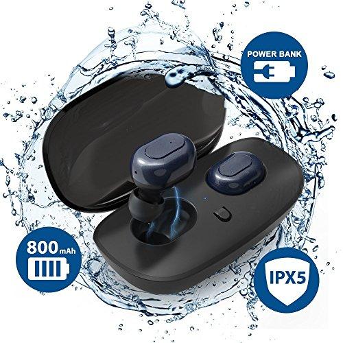 完全 ワイヤレス 防水 Bluetooth イヤホン TIAMAT ブルートゥース 4.2 高音質 充電ケース付き マイク付き ...