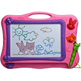 iKidsislands IKS77P [Travel Size] Small Colorful Magnetic Drawing Board for Kids/ Mini Color Magna Doodle for Toddlers/ Erasa