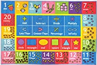 KC CUBS Playtime Collection Math Symbols Numbers and Shapes Educational Learning Area Rug Carpet For Kids and Children Bedroom and Playroom (3' 3 x 4' 7) [並行輸入品]