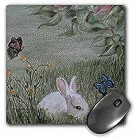 3drose LLC 8x 8x 0.25インチマウスパッド、バニーRabbit in Grass with Butterflies Flying ( MP _ 44347_ 1)
