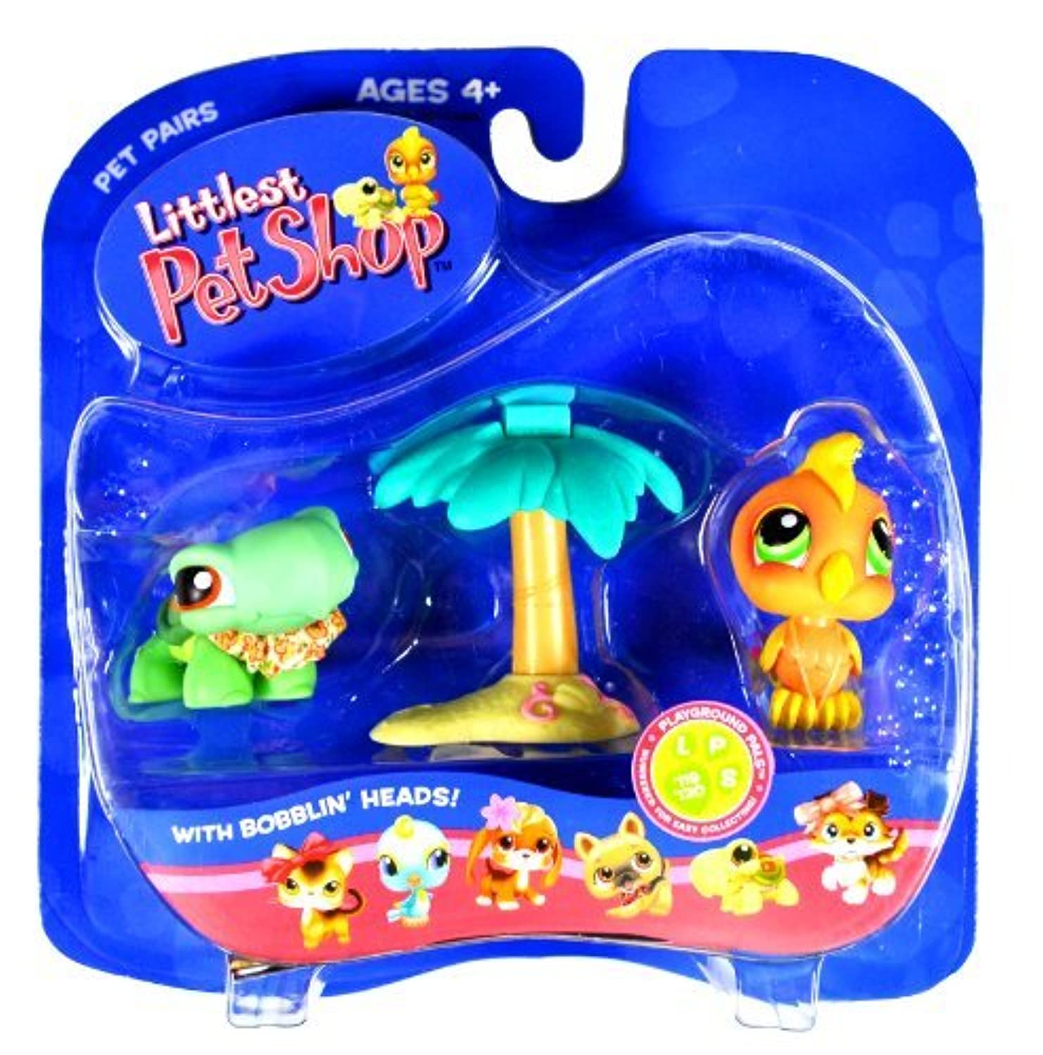 Hasbro Year 2005 Littlest Pet Shop Pet Pairs Playground Pals Series Collectible Bobble Head Pet Figure Set - Green Turtle (#119) with Lei and Orange Cockatoo Bird (#120) with Island and Palm Tree (51828) by Littlest Pet Shop [並行輸入品]