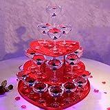 ロマンチックな赤ワインスタンド、3層のシャンパンタワーディスプレイ、ハート型のアクリルゴブレットワインタワー、結婚披露宴の誕生日のクリエイティブなレイアウト(30カップ入り)
