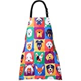 MissOwl Adjustable Home Kids Artists Aprons with Pockets Cute Animal Print Child Kitchen Bib Aprons for Boys and Girls Cookin