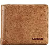 LENSUN 財布 メンズ 二つ折り 薄い 本革 レザー おしゃれ