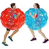 zorb Ball,Human Bubble Ball,Blue+Red 2 PC Bumper Balls 36in, Inflatable Body Bubble Ball Sumo Bumper Bopper Toys, Heavy Duty