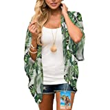 YULOONG Women Fashion Swimwear Cover Up Chiffon Floral Print Kimono Loose Shawl Cardigan Summer Blouse Swimwear Capes