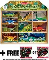 Melissa & Doug 恐竜パーティー 9ピース ミニフィギュアプレイセット + 無料のスクラッチアートミニパッドバンドル [26666]