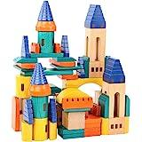 Migargle Wooden Castle Building Blocks Set-Stacking Wood Castle Blocks Educational Toy Set for Toddlers, Fantasy Medieval Bri