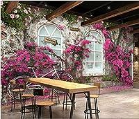 Mbwlkj ヨーロッパの壁紙自然ビンテージウィンドウ花写真の壁紙壁画3Dバーカフェ家の装飾自己接着壁紙-150cmx100cm