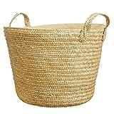 共栄 KYOEI ストロー 麦わら ゴールド 金色 ランドリー収納 かごバスケット 持ち手付き