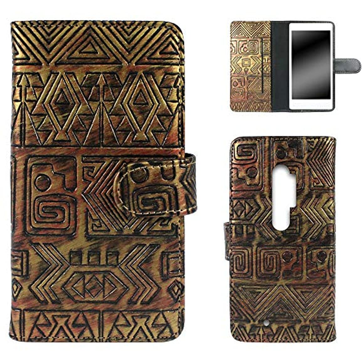 最初カートン謝罪WHITENUTS らくらくスマートフォン4 F-04J ケース 手帳型 エジプトウォール ゴールド×レッド TC-D0376554/ML