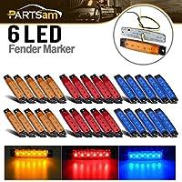 """Partsam 3.8"""" 6LEDテールテールライトブレーキ停止Clearenceトラックバストレーラーサイドマーカーインジケータライトランプ12V、赤青黄色ReflectorsシールドLEDライトトラックLorryバン、10Amber & 10red & 10blue"""