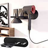 ABORON Hair Dryer Stand Holder Wall Mounted for Dyson Supersonic Hair Dryer Diffuser Nozzle Black Hair Blow Dryer Stand Rack