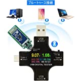 USB-C Type C USBテスター電圧電流計 ブルートゥース接続 電力チェッカー充電器負荷インピーダンス温度PDデジタルカラーTFTディスプレイマルチメーター 通信バージョン