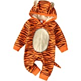 JELLYKIDS Baby Hoodie Romper Newborn Baby Boy Girl Long Sleeve Cartoon Animal Print Zipper One Piece Jumpsuit with Tail