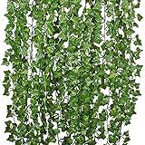 84 Ft-12 Pack Artificial Ivy Leaf Garland Plants Vine Hanging Wedding Garland Foliage Flowers Home Kitchen Garden Office Wedding Wall Decor