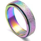 JAJAFOOK Women's 6MM Fashion Stainless Steel Spinner Ring Sand Blast Finish Rainbow