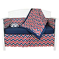 Bacati Zig Zag and Dots 5 Piece Crib Bedding Set with Bumper Pad Blue/Red [並行輸入品]