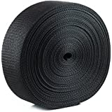 Houseables Webbing Strap, Polypro, Polypropylene Heavy Flat Strapping, 2 Inch W x 25 Yards (Two 12.5 Yard Rolls), Black, UV R