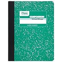 Meadコンポジションノートブック、ワイドルールド、100シート( 200ページ) グリーン