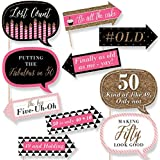 Funny Chic 50th Birthday - Pink, Black and Gold - Birthday Party Photo Booth Props Kit - 10 Count
