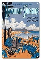 22cm x 30cmヴィンテージハワイアンティンサイン - マイハワイの日差し - L.Wolfe Gilbert&Carey Morganの歌詞 - ヴィンテージ・ハワイアン・シート・ミュージック によって作成された スターマー c.1916