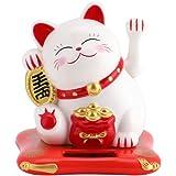 Delaman Maneki Neko Solar Powered Lucky Cat Waving Arm, Fortune Cat (Black) White
