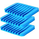 Emoly 3 Pack Silicone Soap Dish, Bar Soap Holder Box Stand Case Saver Tray for Shower Bathroom Kitchen, Premium Flexible Sili