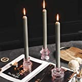 GlrYer Candlestick Holders Set of 3 for Taper Candles, Tealight Candles, Glass Pink Decorative Candlestick Holder for Wedding